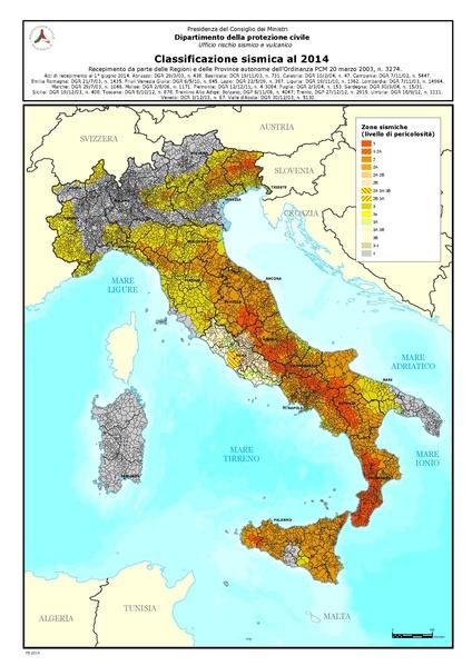 Classificazione sismica nel 2014
